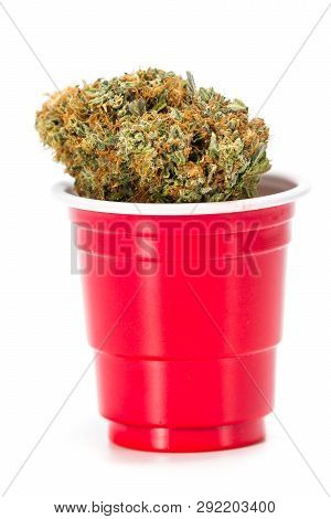 Red Plastic Cup With Weed