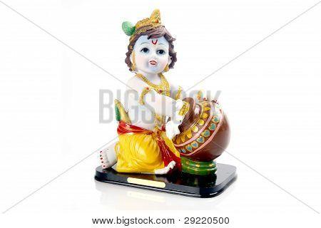 Hindu God Krishna Over A White Background
