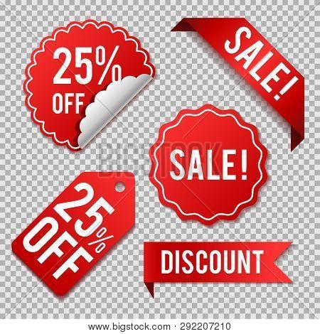 Vector Label Set,label Sticker Sale Offer And Badge Tag Sale Advertising. Red Color On Transparent B