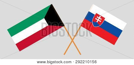 Slovakia And Kuwait. The Slovakian And Kuwaiti Flags. Official Colors. Correct Proportion. Vector Il