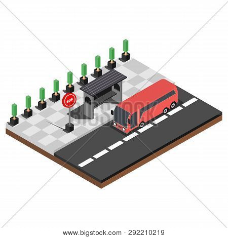 City Public Transport Isometric 3d Set. Modern Town Waiting Stations Of Bus, Taxi Car, Tramway And T