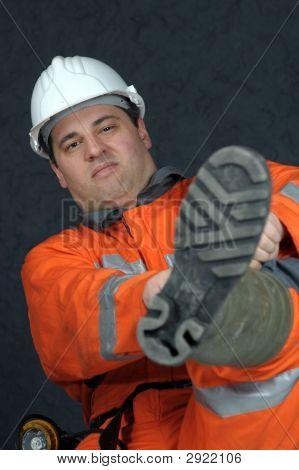 Mine Worker Getting Ready