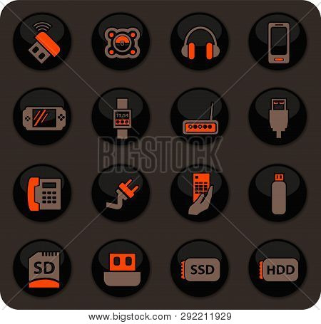 Devices Color Vector Icons On Dark Background For User Interface Design