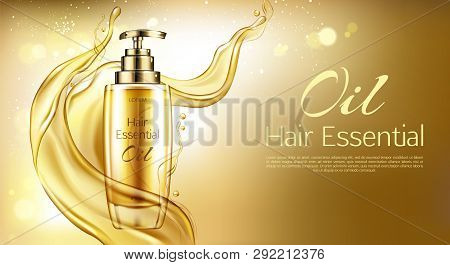 Vector 3d Realistic Oil Essence In Golden Glass Bottle With Pump Dispenser. Yellow Liquid Hair Serum