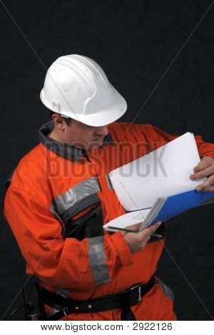 Mine Worker With File