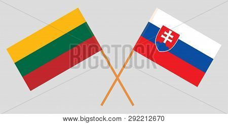 The Slovakian And Latvian Flags. Official Colors. Correct Proportion. Vector Illustration