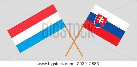 Slovakia And Luxembourg. The Slovakian And Luxembourgish Flags. Official Colors. Correct Proportion.