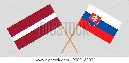 Slovakia And Latvia. The Slovakian And Latvian Flags. Official Colors. Correct Proportion. Vector Il