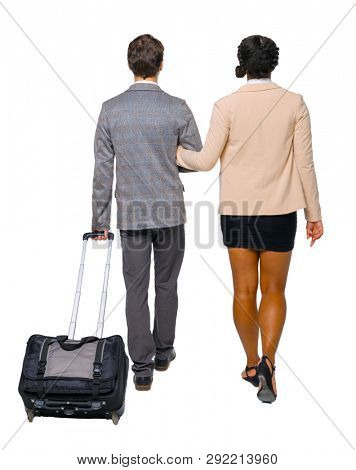 Back view of interracial going couple with suitcase. Rear view people collection. backside view of person. Isolated over white. Husband and wife businessmen go into the distance with a suitcase. poster