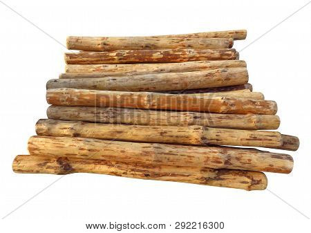 Wooden Logs Isolated On White Background. Clipping Path Included.