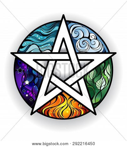 Artistically Painted Magical Pentagram With Elements Of Water, Earth, Air, Fire, Astral, On A White