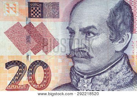 Croatian Kuna Or Sto Kuna Money Currency Closeup. Selective Focus And Crop Fragment
