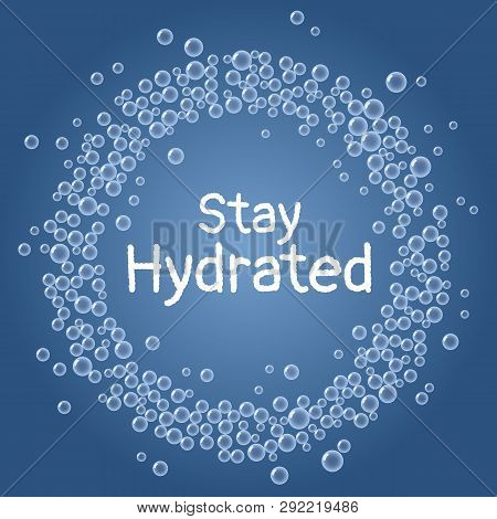 Stay Hydrated Text. Drink Water Blue Bubbles Wreath Postcard