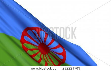Background With Realistic Romani Flag On White Background. Vector Element For International Romani D
