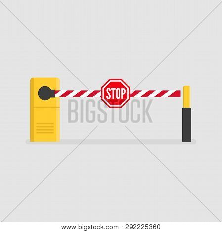 Car Barrier With The Stop Sign. Parking Entrance With Security Barrier Gate.