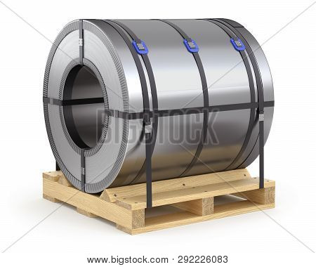Steel Coil And Wooden Pallet On White Background - 3d Illustration