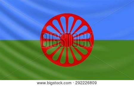 Background With Realistic Romani Flag. Vector Element For International Romani Day, International Ro