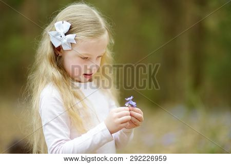 Adorable Little Girl Picking The First Flowers Of Spring In The Woods On Beautiful Sunny Spring Day.