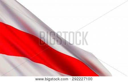 Vector Background With Realistic White-red-white Flag (1991-1995 - State Flag Of The Republic Of Bel