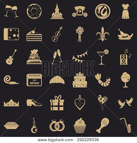 Banquet Icons Set. Simple Style Of 36 Banquet Vector Icons For Web For Any Design
