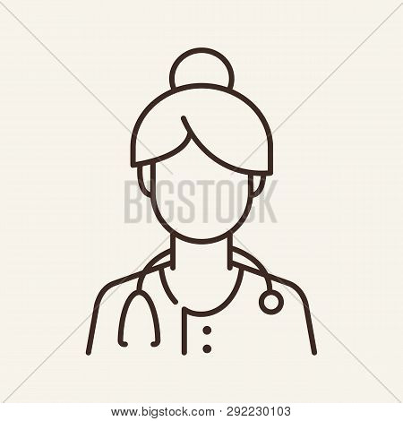 Female doctor line icon. General practitioner, physician, job. Medicine concept. Can be used for topics like therapy, hospital, clinic poster