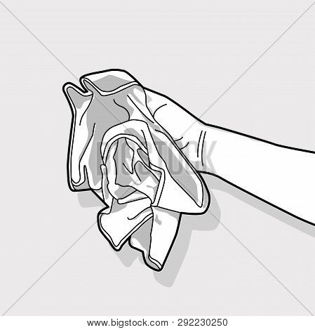 Hand Holds The Microfiber Cloths For Wiping.