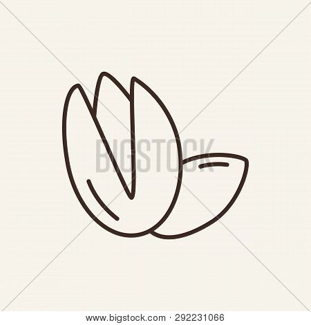 Pistachio Line Icon. Nutshell, Peeled, Raw. Ingredient Concept. Can Be Used For Topics Like Ice Crea