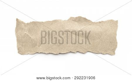Recycled Paper Craft Stick On A White Background. Brown Paper Torn Or Ripped Pieces Of Paper Isolate