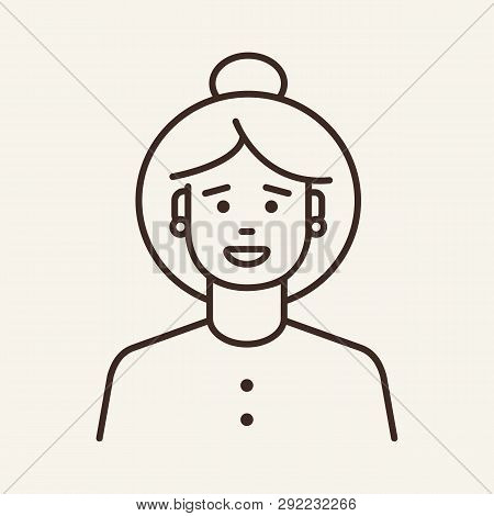 Young Woman With Short Tail Line Icon. Face, Hair Bun, Cardigan. Natural Beauty Concept. Can Be Used