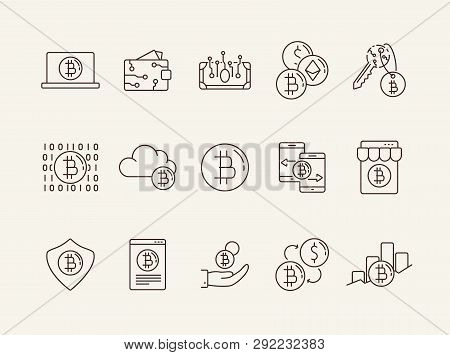 Bitcoin Icons. Line Icons Collection On White Background. Bitcoin Code, Digital Money, Bitcoin Trans