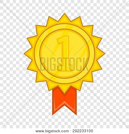 Winner Gold Rosette Icon In Cartoon Style Isolated On Background For Any Web Design