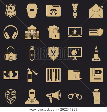 Prosecution Icons Set. Simple Set Of 25 Prosecution Vector Icons For Web For Any Design