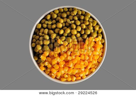 Corn And Peas On Grey