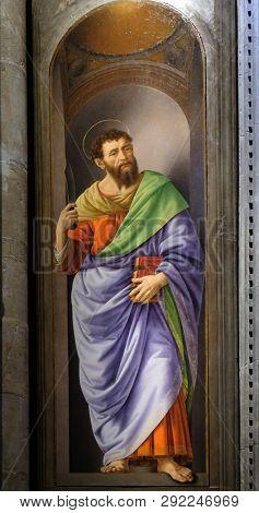 FLORENCE, ITALY - JANUARY 09, 2019: Saint Bartholomew painting by Lorenzo di Credi, Orsanmichele Church in Florence, Tuscany, Italy