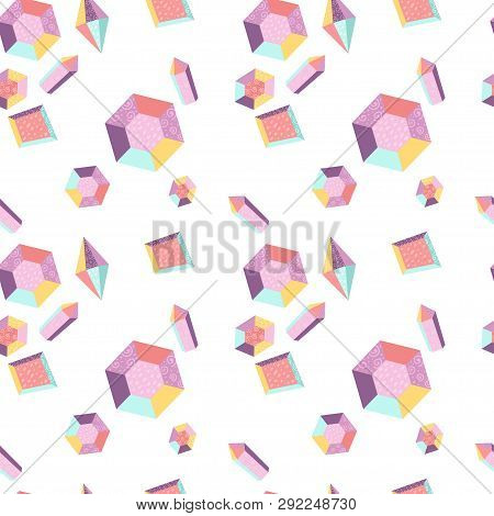 Seamless Pattern With Crystals. Vector Illustration For Your Design