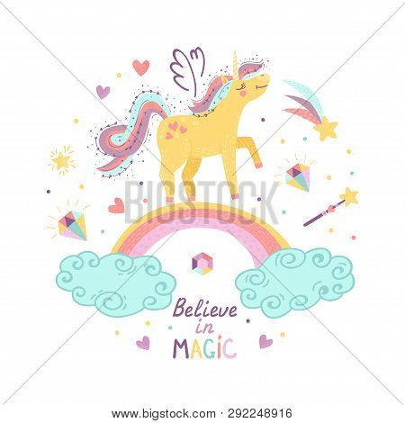 Background Of Fantasy Unicorn. Vector Illustration For Your Design