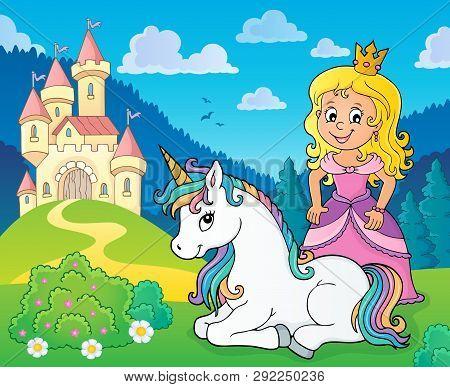 Princess And Unicorn Near Castle Theme 1 - Eps10 Vector Picture Illustration.