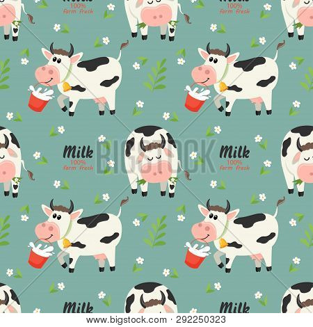 Seamless Pattern With Farm Cows And Milk Bottle