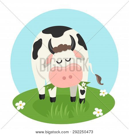 Cow Eating Grass. Vector Illustration For Your Design