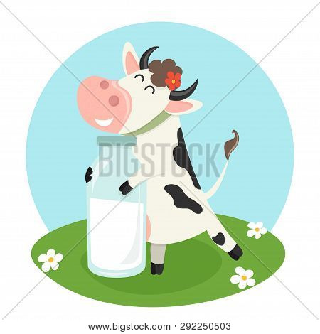 Farm Cow With Milk Bottle. Vector Illustration For Your Design