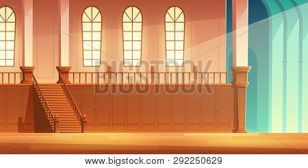 Medieval Castle, Church Or Cathedral Spacious Hall With Wooden Stairs On Balcony With Large Windows