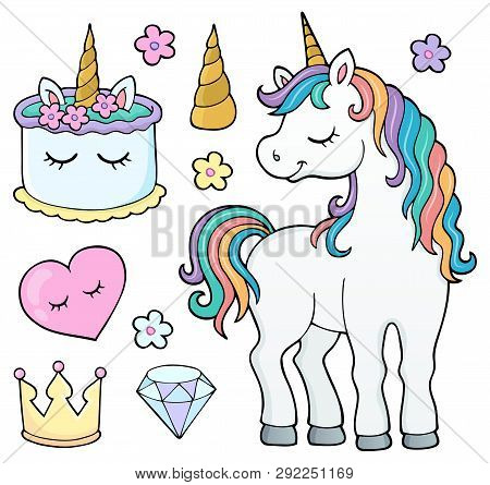 Unicorn And Objects Theme Image 4 - Eps10 Vector Picture Illustration.