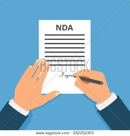 Colored Cartooned Hand Signing Nda. Contract Signed Document. Nda Concept. Secret Files.