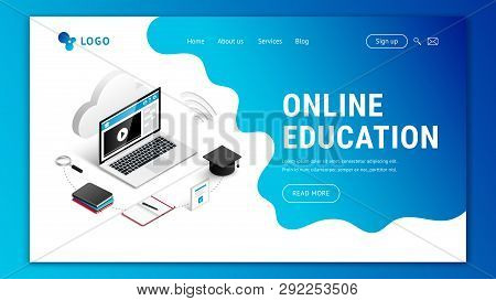 Landing Page Web Design Template For Online Education. Modern 3d Isometric E-learning Web Site Conce