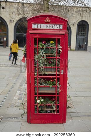 Bath, Somerset, Uk, 22nd February 2019, Old Repurposed Red Telephone Box  Turned Into A Space For Fl