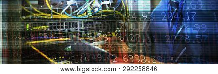 Stocks and shares against technician maintaining record of rack mounted server on clipboard