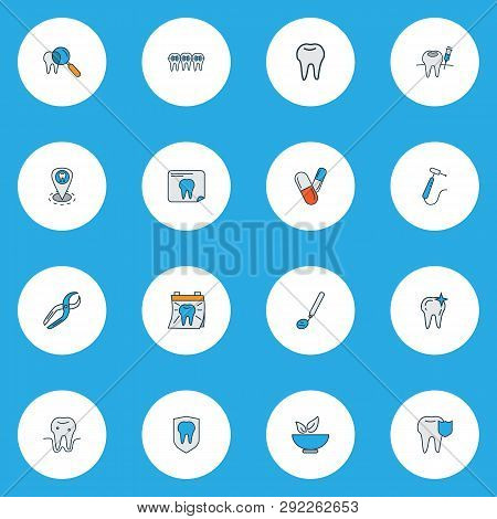 Enamel Icons Colored Line Set With Healthy Food, Clean Tooth, Braces And Other Gingivitis Elements.