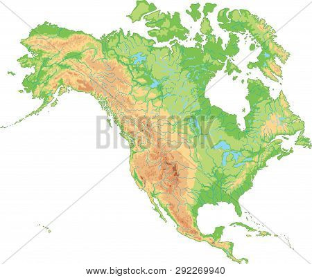 High Detailed North America Physical Map. Vector Illustration.