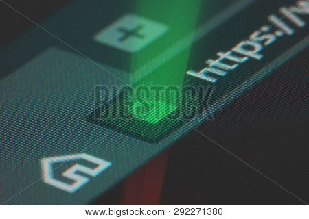 Web Browser Closeup On Lcd Screen With Shallow Focus With Light Shining Through Https Padlock. Inter