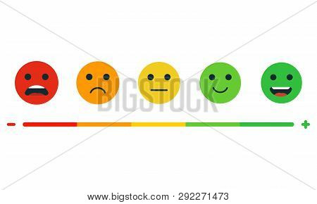 Set Of Emotion Rating Feedback. Rating Satisfaction. User Experience Feedback. Different Mood Smiley